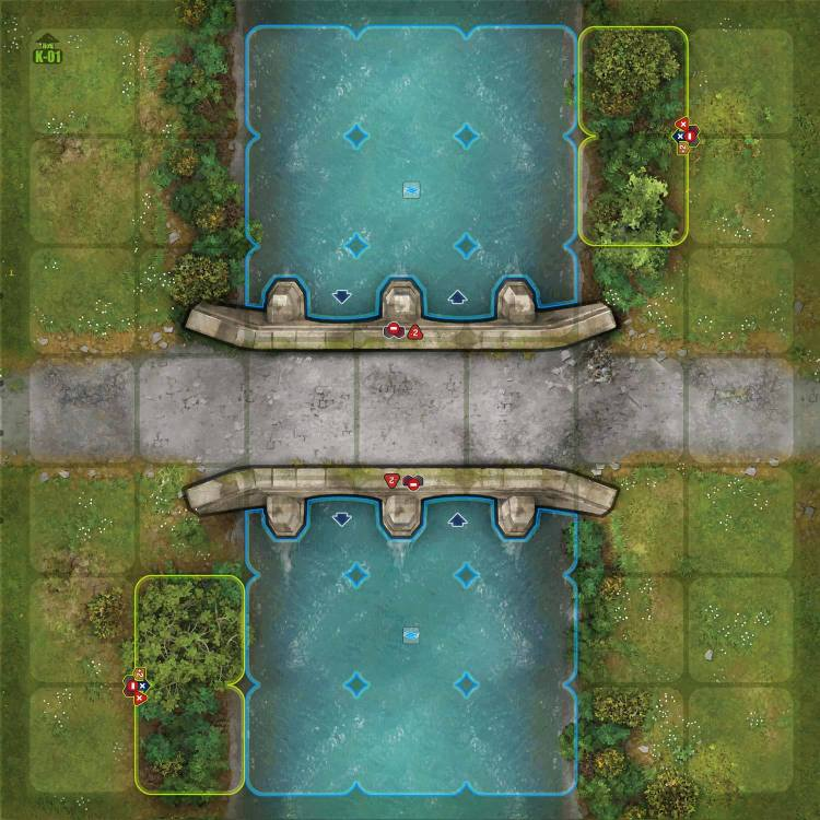 Terrain Tile River Set - Pont en rase campagne