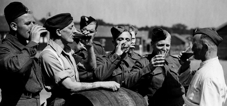 British troops released from a German prison camp 1944 drinking English beer for the first time in four years WW2